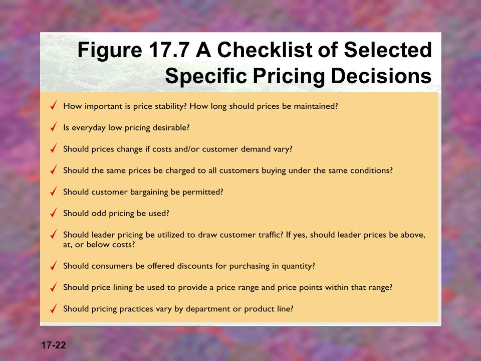 17-22 Figure 17.7 A Checklist of Selected Specific Pricing Decisions