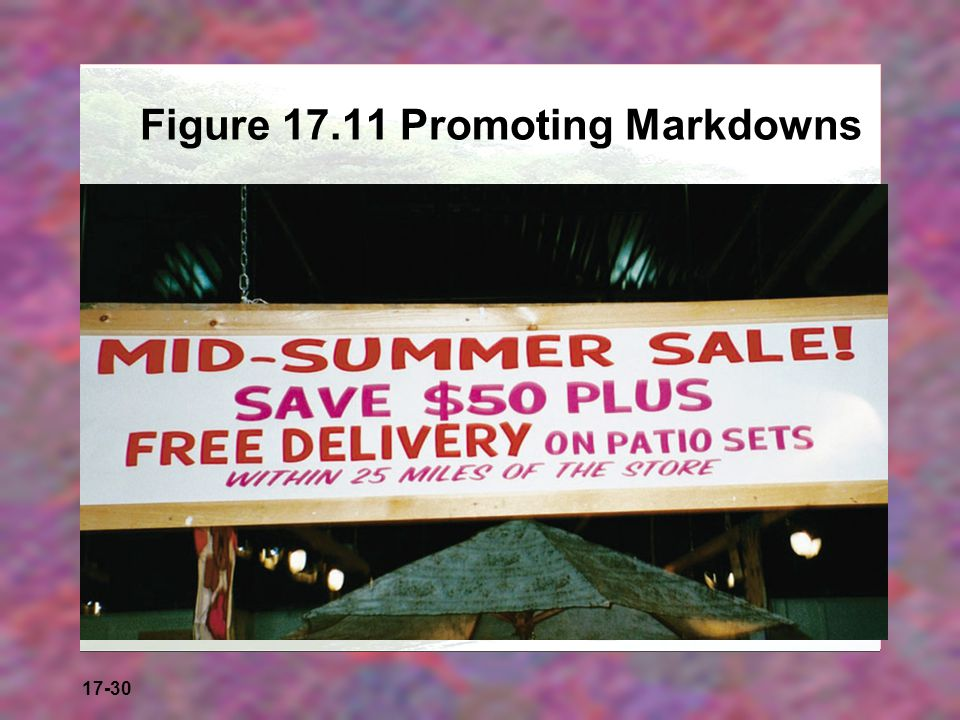 17-30 Figure 17.11 Promoting Markdowns