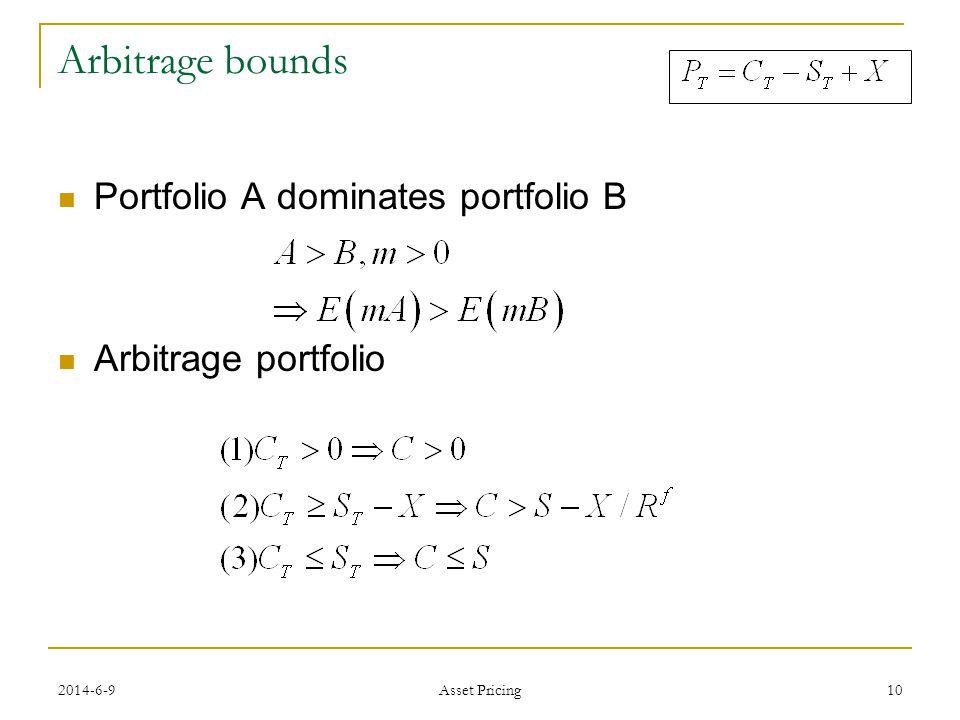 10 Arbitrage bounds Portfolio A dominates portfolio B Arbitrage portfolio 2014-6-9 Asset Pricing
