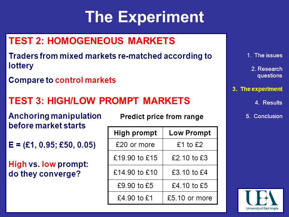 TEST 2: HOMOGENEOUS MARKETS Traders from mixed markets re-matched according to lottery Compare to control markets TEST 3: HIGH/LOW PROMPT MARKETS Anchoring manipulation before market starts E = (£1, 0.95; £50, 0.05) High vs.