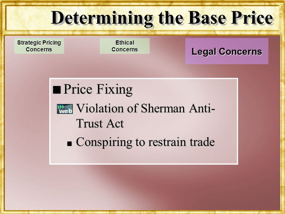 Dr. Rosenbloom Determining the Base Price n Price Fixing n Violation of Sherman Anti- Trust Act n Conspiring to restrain trade Strategic Pricing Conce