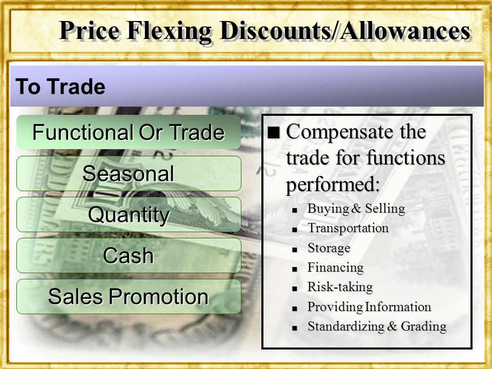 Dr. Rosenbloom Seasonal Quantity Cash Sales Promotion n Compensate the trade for functions performed: n Buying & Selling n Transportation n Storage n