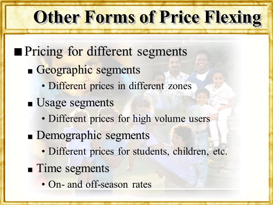 Dr. Rosenbloom Other Forms of Price Flexing n Pricing for different segments n Geographic segments Different prices in different zones n Usage segment