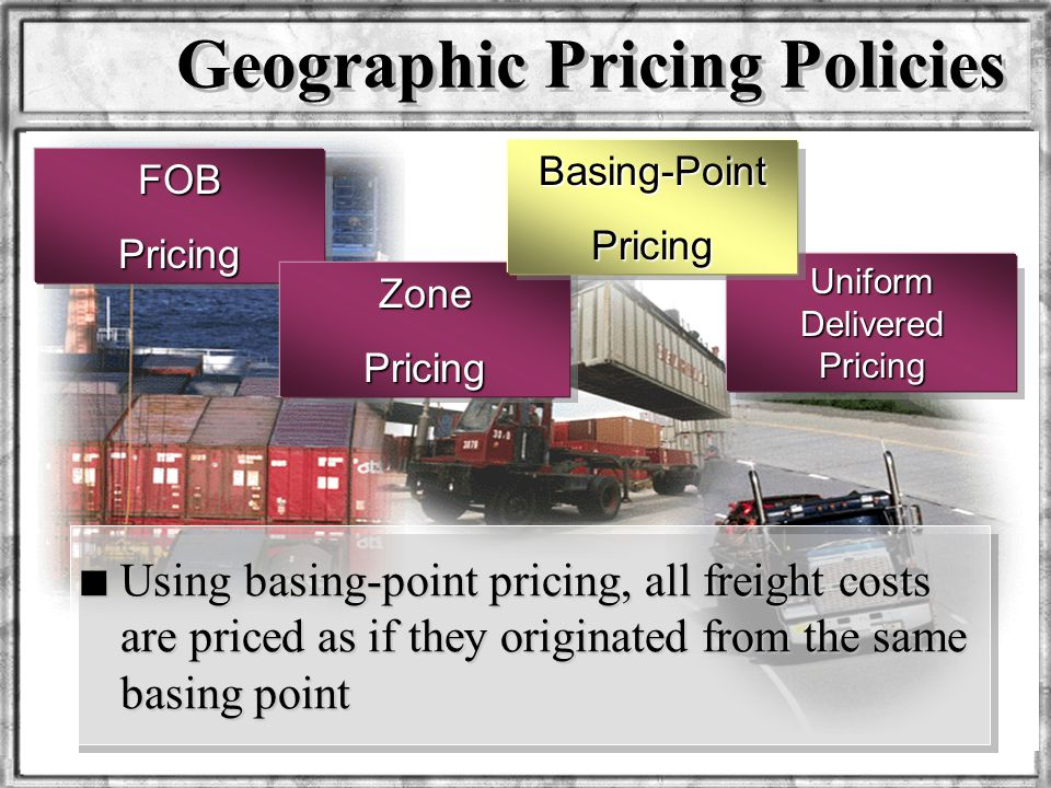 Dr. Rosenbloom Geographic Pricing Policies FOBPricing Uniform Delivered Pricing ZonePricing Basing-PointPricing n Using basing-point pricing, all frei