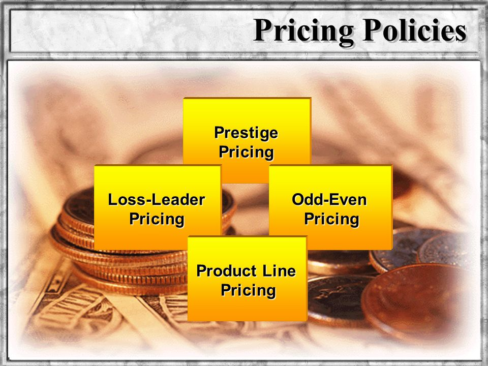 Dr. Rosenbloom Prestige Pricing Pricing Policies Odd-Even Pricing Loss-Leader Pricing Product Line Pricing