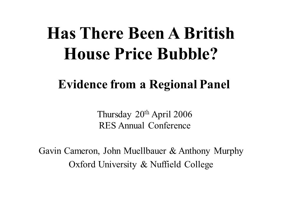 Has There Been A British House Price Bubble.