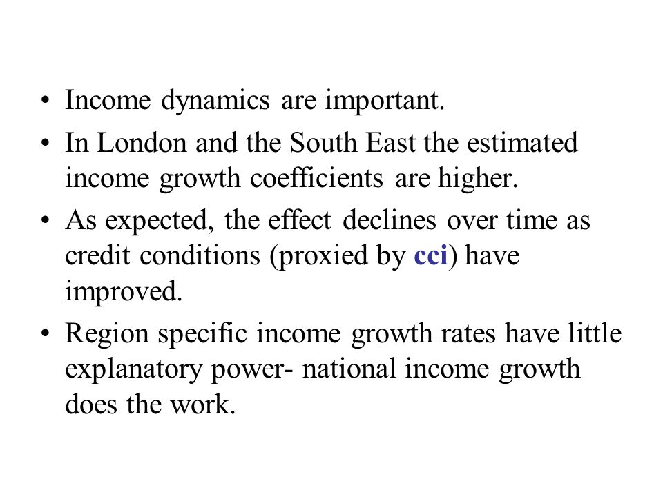 Income dynamics are important.