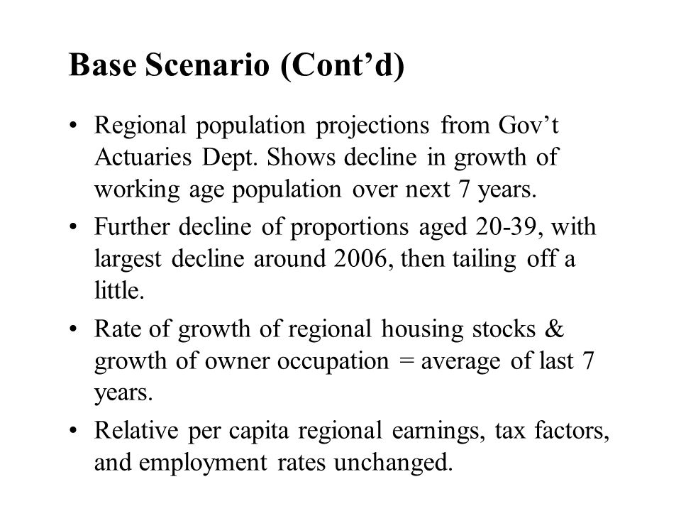 Base Scenario (Contd) Regional population projections from Govt Actuaries Dept. Shows decline in growth of working age population over next 7 years. F