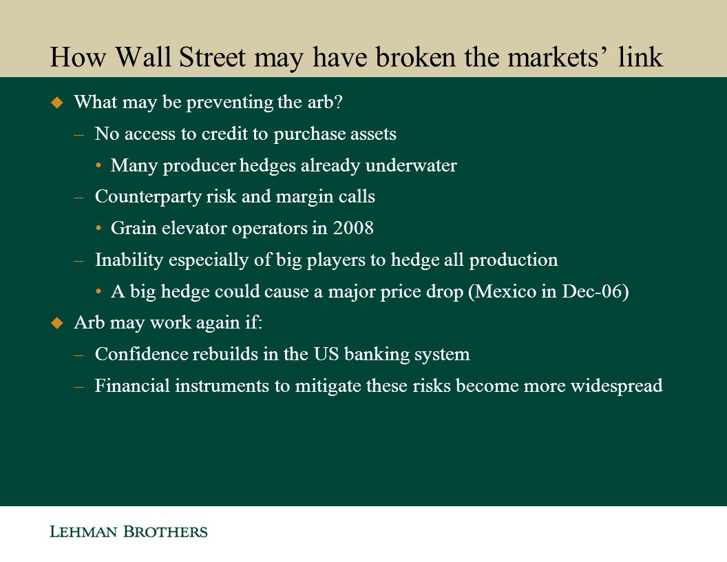 How Wall Street may have broken the markets link What may be preventing the arb? –No access to credit to purchase assets Many producer hedges already