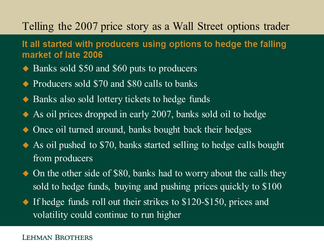 Telling the 2007 price story as a Wall Street options trader It all started with producers using options to hedge the falling market of late 2006 Bank