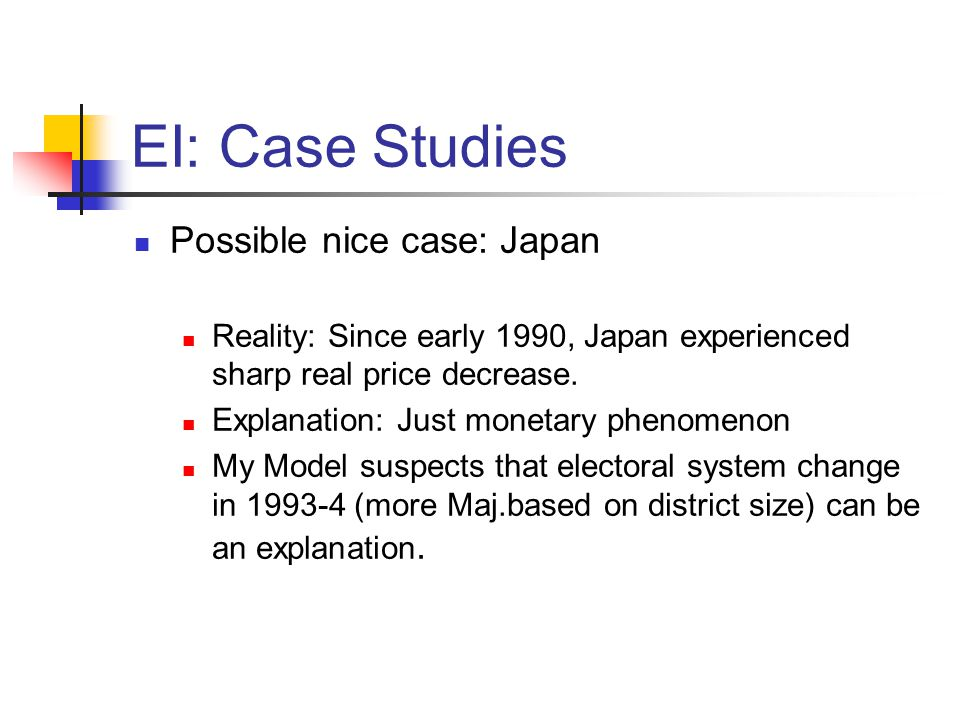 EI: Case Studies Possible nice case: Japan Reality: Since early 1990, Japan experienced sharp real price decrease. Explanation: Just monetary phenomen