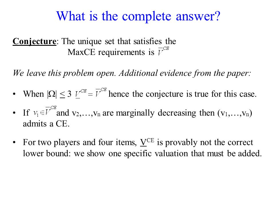 What is the complete answer.