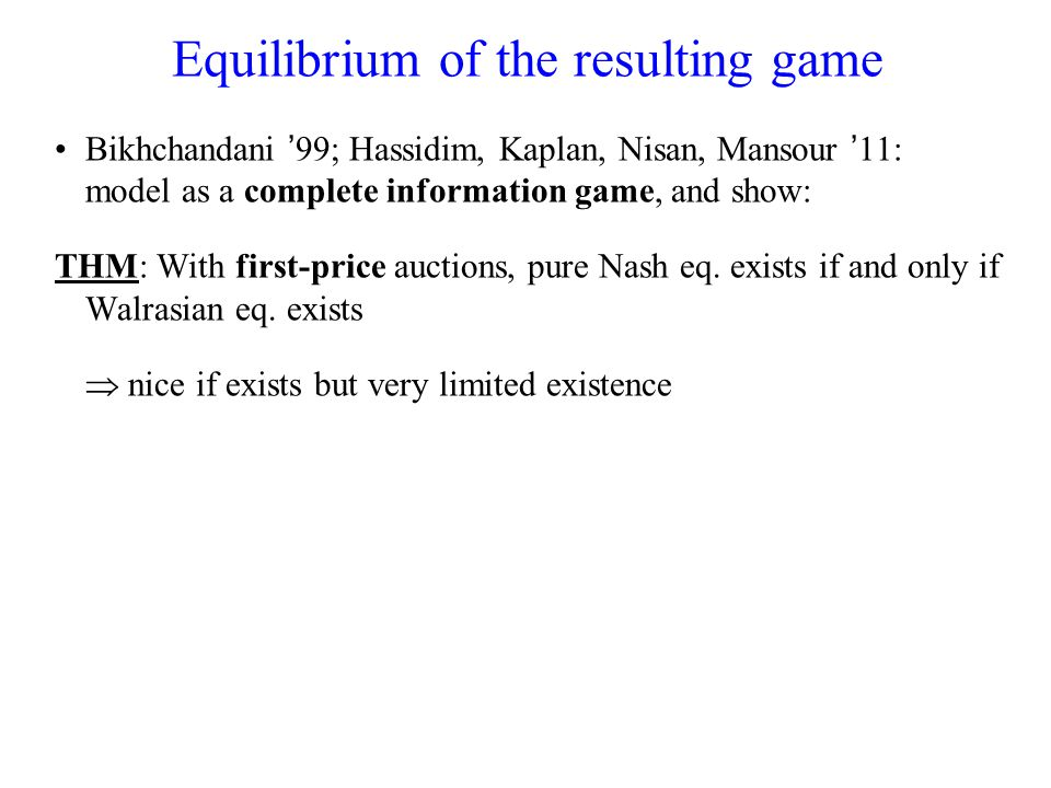 Maximal existence classes A valuation class V CE satisfies the MaxCE requirements if: All unit-demand valuations belong to V CE –(following Gul & Stacchetti 99) n > 1, any (v 1, …,v n ) (V CE ) n admits a CE (maximality) u V CE, v 1, …,v k V CE such that (v 1, …,v k ) does not admit a CE Main Question: Describe a valuation class satisfying the MaxCE requirements.