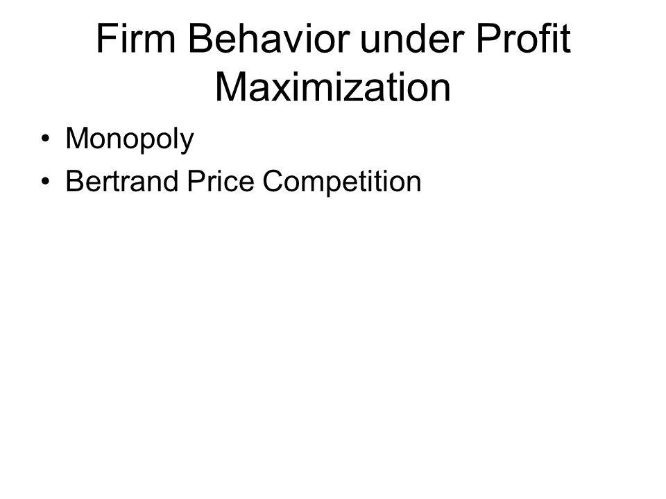 Firm Behavior under Profit Maximization Monopoly Bertrand Price Competition