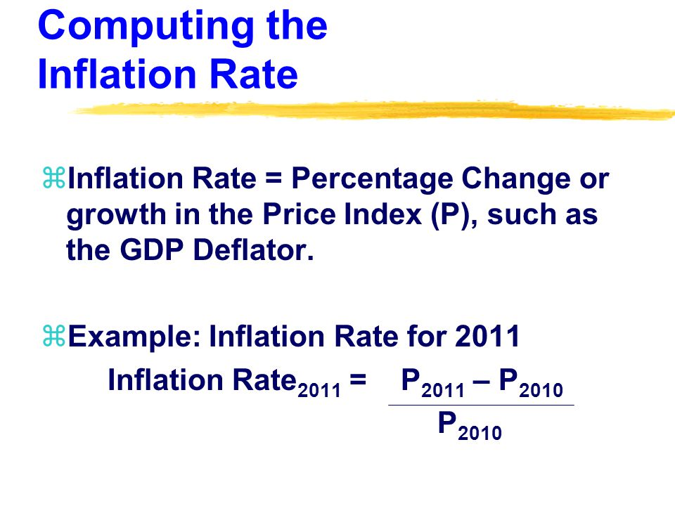 Computing the Inflation Rate zInflation Rate = Percentage Change or growth in the Price Index (P), such as the GDP Deflator.