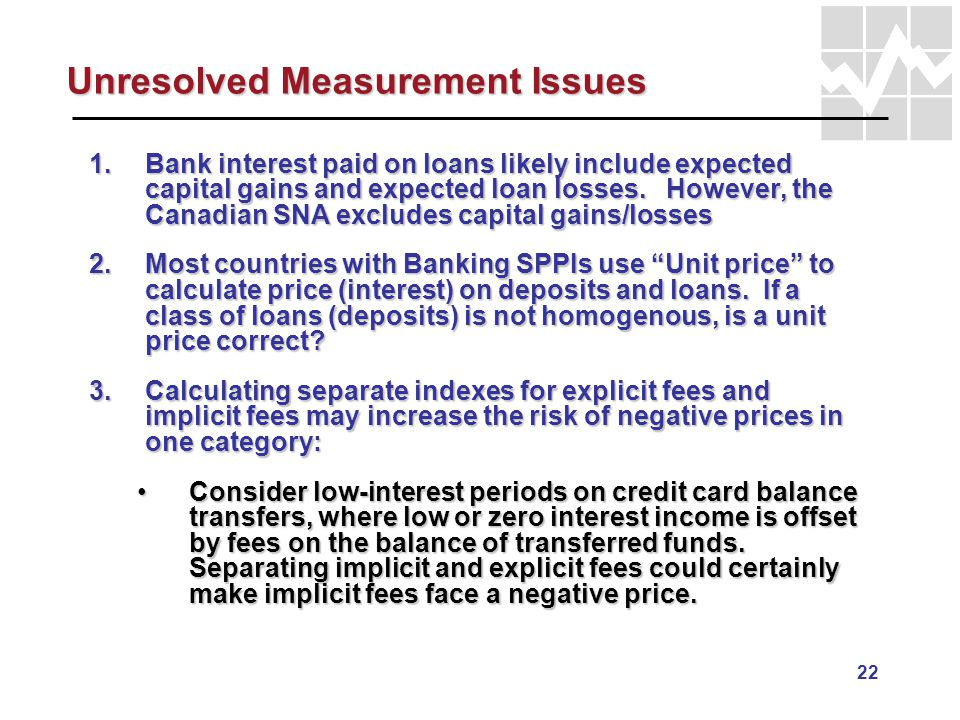 22 Unresolved Measurement Issues 1.Bank interest paid on loans likely include expected capital gains and expected loan losses. However, the Canadian S