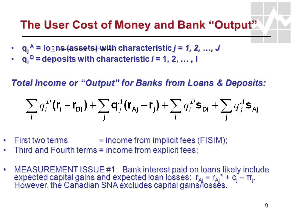 9 The User Cost of Money and Bank Output q j A = loans (assets) with characteristic j = 1, 2, …, Jq j A = loans (assets) with characteristic j = 1, 2,