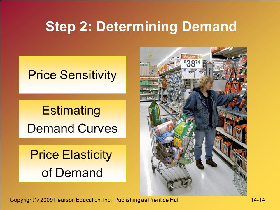 Copyright © 2009 Pearson Education, Inc. Publishing as Prentice Hall 14-14 Step 2: Determining Demand Price Sensitivity Estimating Demand Curves Price