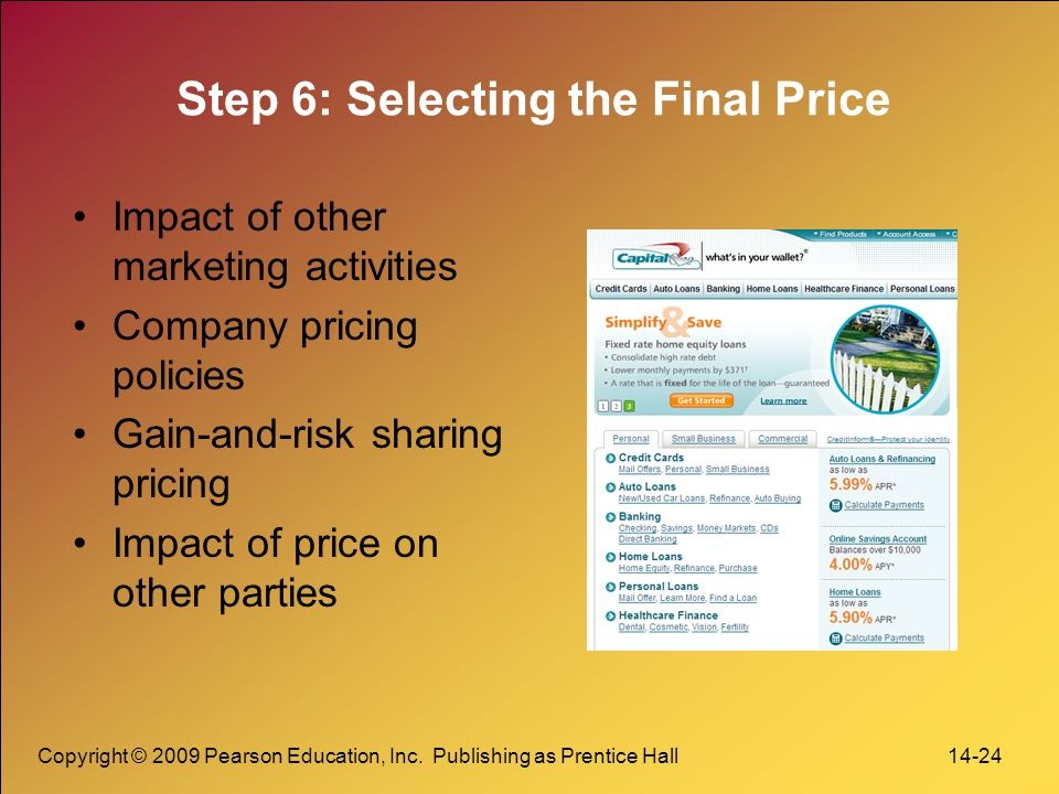 Copyright © 2009 Pearson Education, Inc. Publishing as Prentice Hall 14-24 Step 6: Selecting the Final Price Impact of other marketing activities Comp