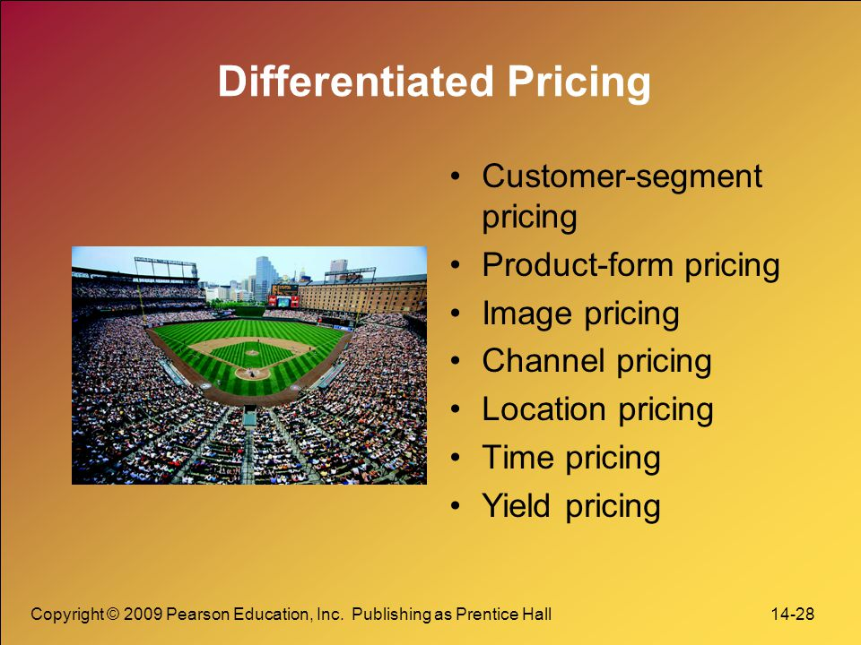 Copyright © 2009 Pearson Education, Inc. Publishing as Prentice Hall 14-28 Differentiated Pricing Customer-segment pricing Product-form pricing Image