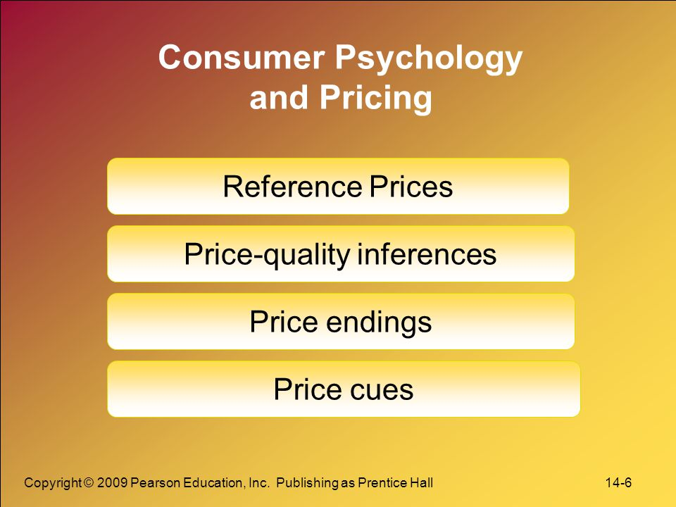 Copyright © 2009 Pearson Education, Inc. Publishing as Prentice Hall 14-6 Consumer Psychology and Pricing Reference Prices Price-quality inferences Pr