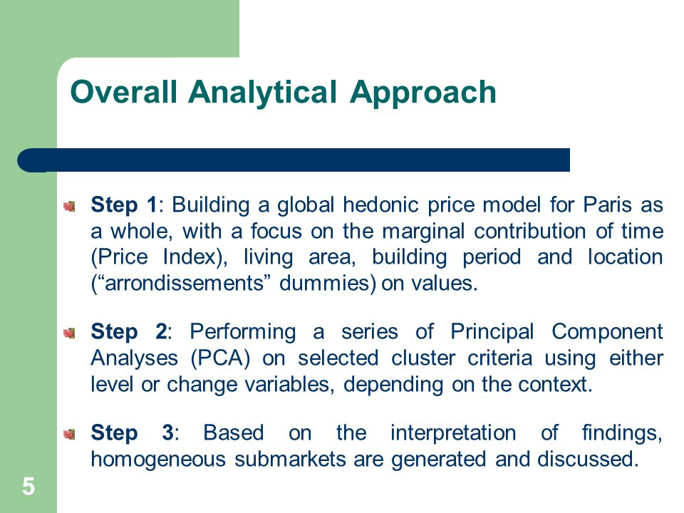 Overall Analytical Approach Step 1: Building a global hedonic price model for Paris as a whole, with a focus on the marginal contribution of time (Price Index), living area, building period and location (arrondissements dummies) on values.