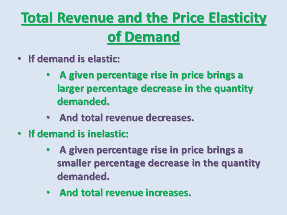 Total Revenue and the Price Elasticity of Demand If demand is elastic: If demand is elastic: A given percentage rise in price brings a larger percenta