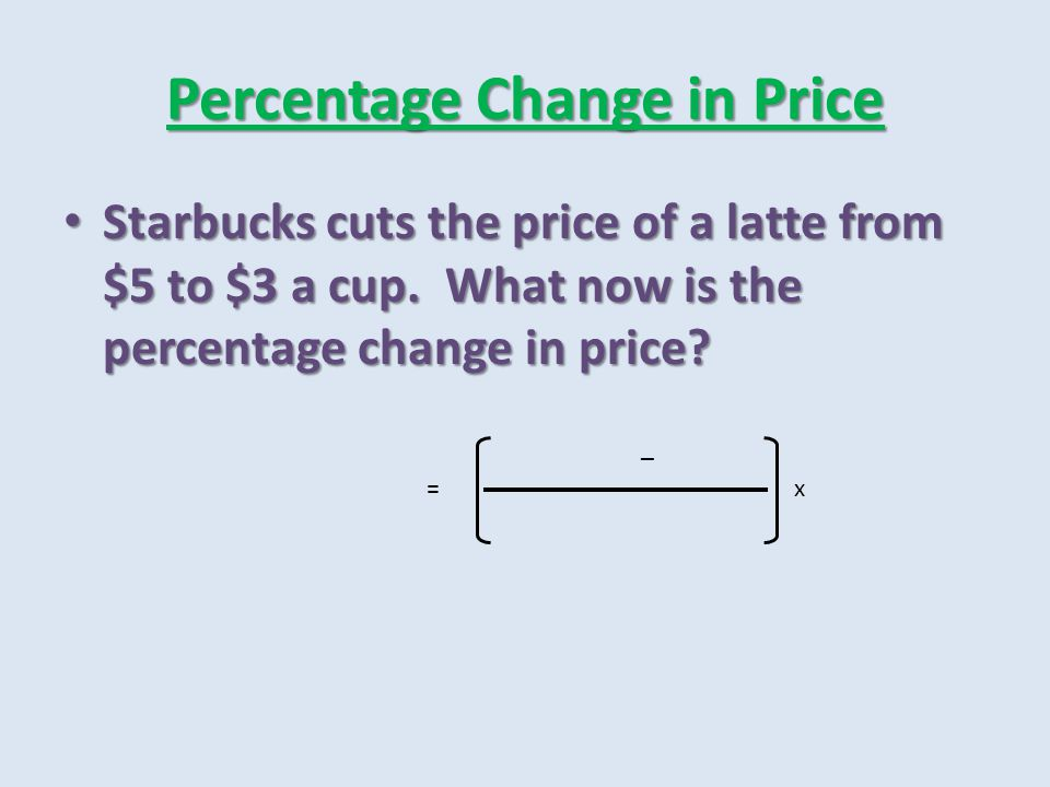 Percentage Change in Price Starbucks cuts the price of a latte from $5 to $3 a cup. What now is the percentage change in price? Starbucks cuts the pri