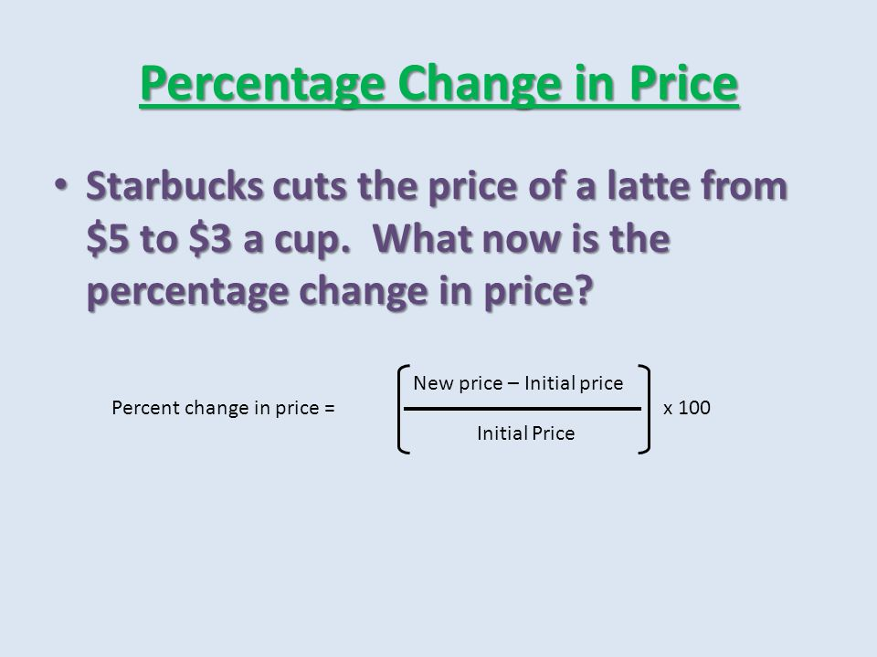 Percentage Change in Price Elasticity compares the percentage change in the quantity demanded with the percentage change in price Elasticity compares the percentage change in the quantity demanded with the percentage change in price Midpoint Method -- Midpoint Method --