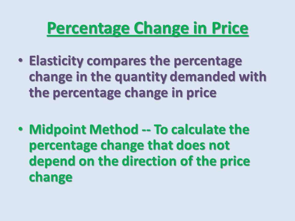 Percentage Price in Change Midpoint Method Calculation Midpoint Method Calculation Starbucks Latte price changing from $5 to $3.