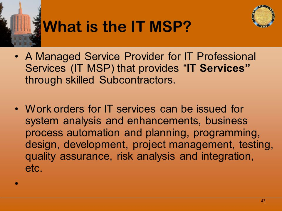 What is the IT MSP? A Managed Service Provider for IT Professional Services (IT MSP) that provides IT Services through skilled Subcontractors. Work or