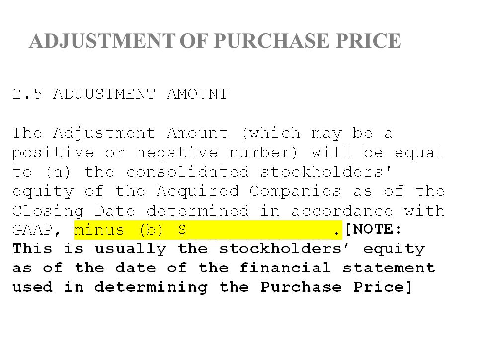 ADJUSTMENT OF PURCHASE PRICE