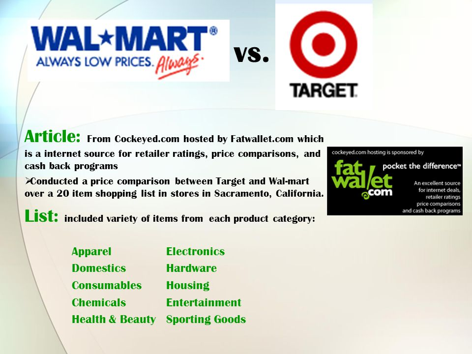 Article: From Cockeyed.com hosted by Fatwallet.com which is a internet source for retailer ratings, price comparisons, and cash back programs C onducted a price comparison between Target and Wal-mart over a 20 item shopping list in stores in Sacramento, California.