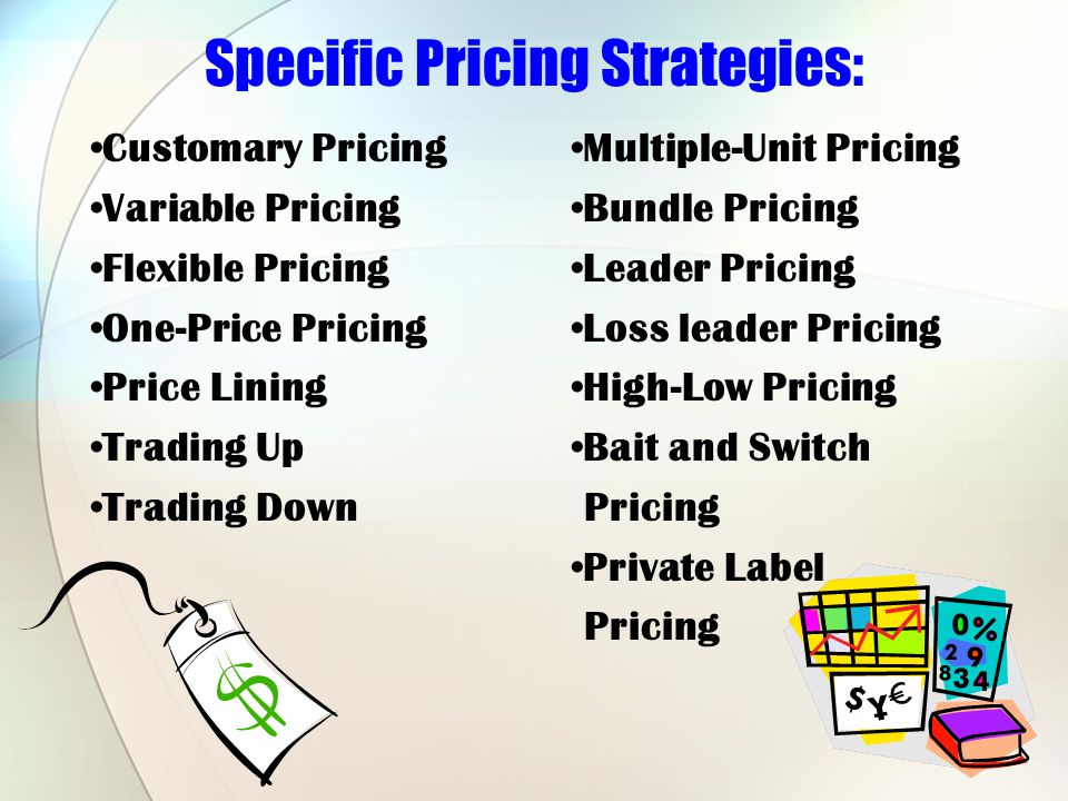 Specific Pricing Strategies: Customary Pricing Variable Pricing Flexible Pricing One-Price Pricing Price Lining Trading Up Trading Down Multiple-Unit Pricing Bundle Pricing Leader Pricing Loss leader Pricing High-Low Pricing Bait and Switch Pricing Private Label Pricing
