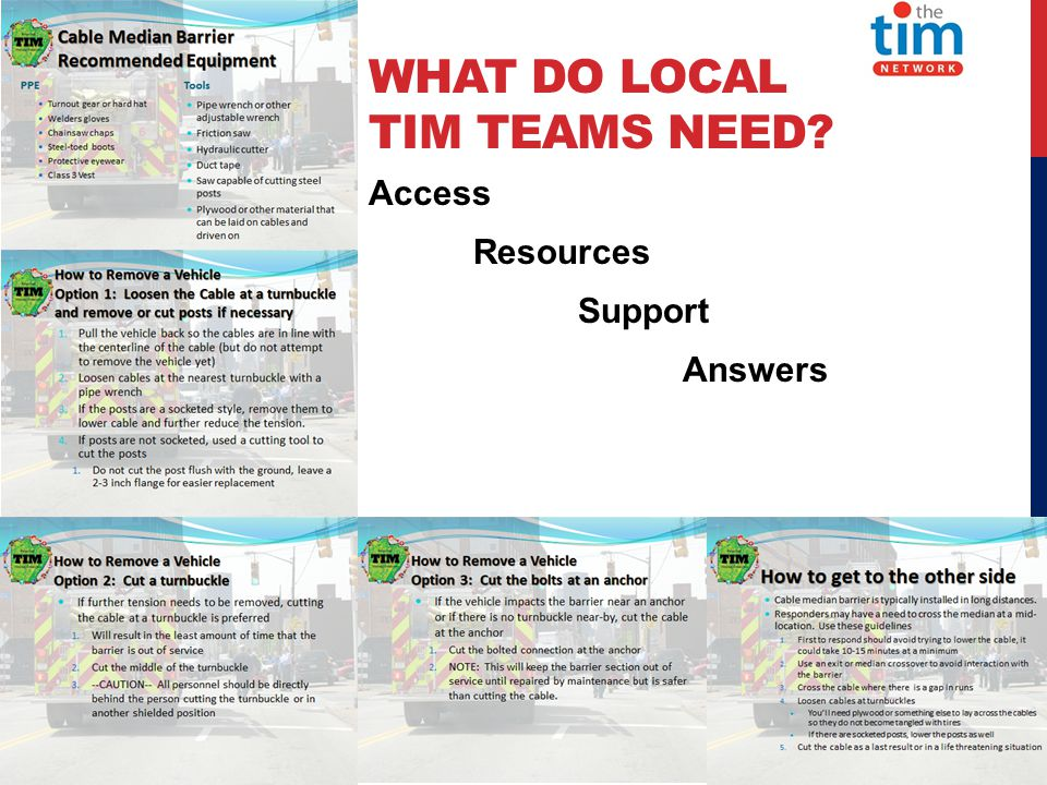 WHAT DO LOCAL TIM TEAMS NEED Access Resources Support Answers