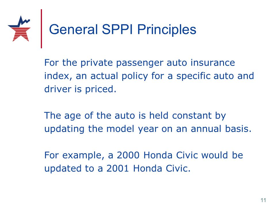 11 General SPPI Principles For the private passenger auto insurance index, an actual policy for a specific auto and driver is priced. The age of the a