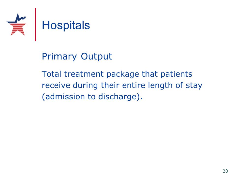 30 Hospitals Primary Output Total treatment package that patients receive during their entire length of stay (admission to discharge).