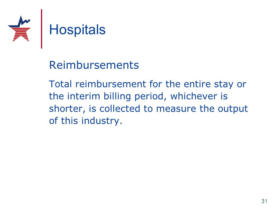 31 Hospitals Reimbursements Total reimbursement for the entire stay or the interim billing period, whichever is shorter, is collected to measure the o
