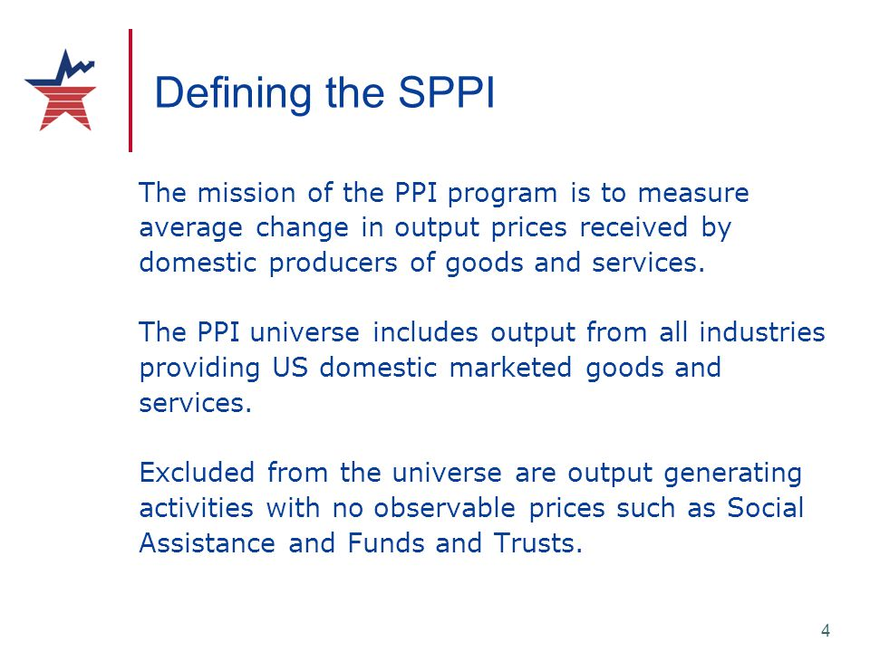 4 Defining the SPPI The mission of the PPI program is to measure average change in output prices received by domestic producers of goods and services.