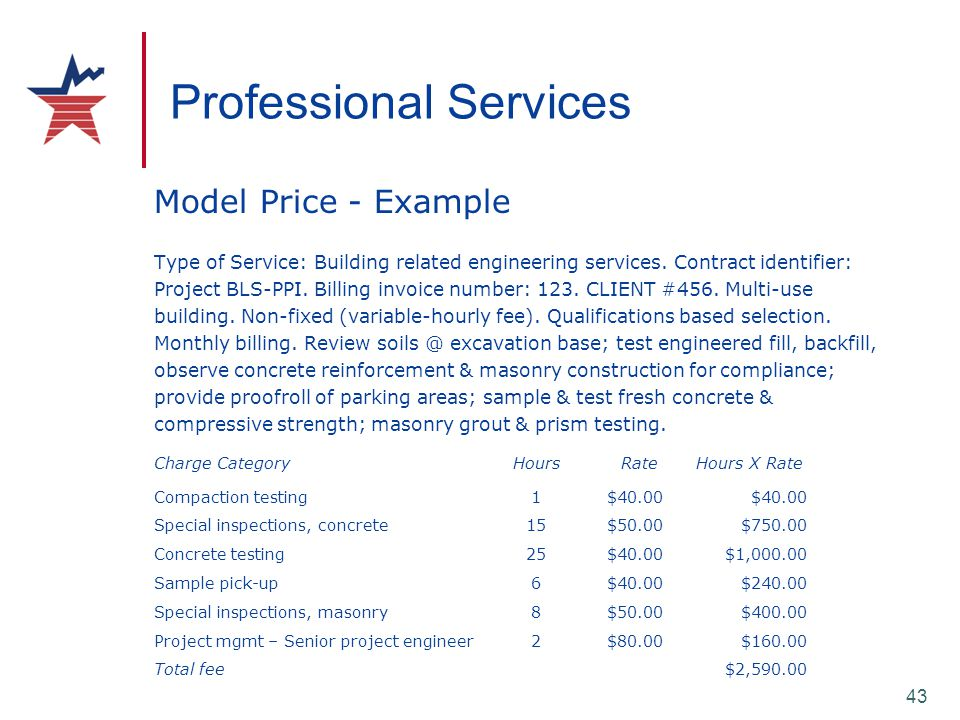43 Professional Services Model Price - Example Type of Service: Building related engineering services. Contract identifier: Project BLS-PPI. Billing i