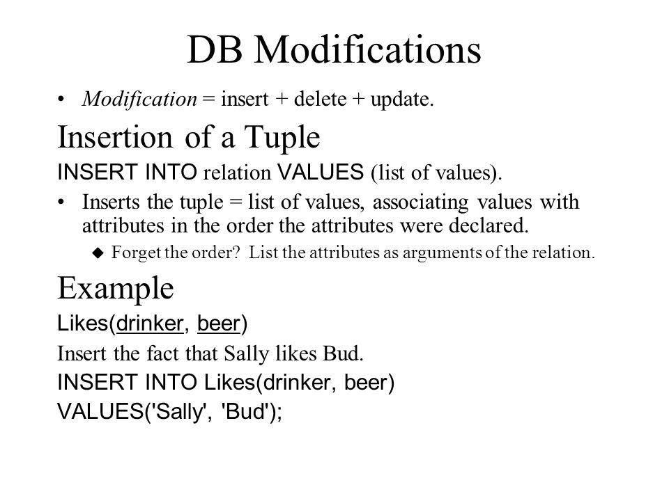 DB Modifications Modification = insert + delete + update.