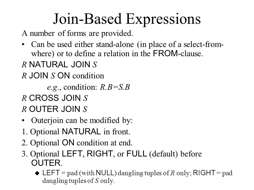 Join-Based Expressions A number of forms are provided.