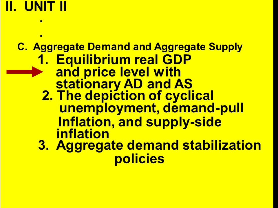 II. UNIT II.. C. Aggregate De mand and Aggregate Supply 1. Equilibrium real GDP and price level with stationary AD and AS 2. The depiction of cyclical