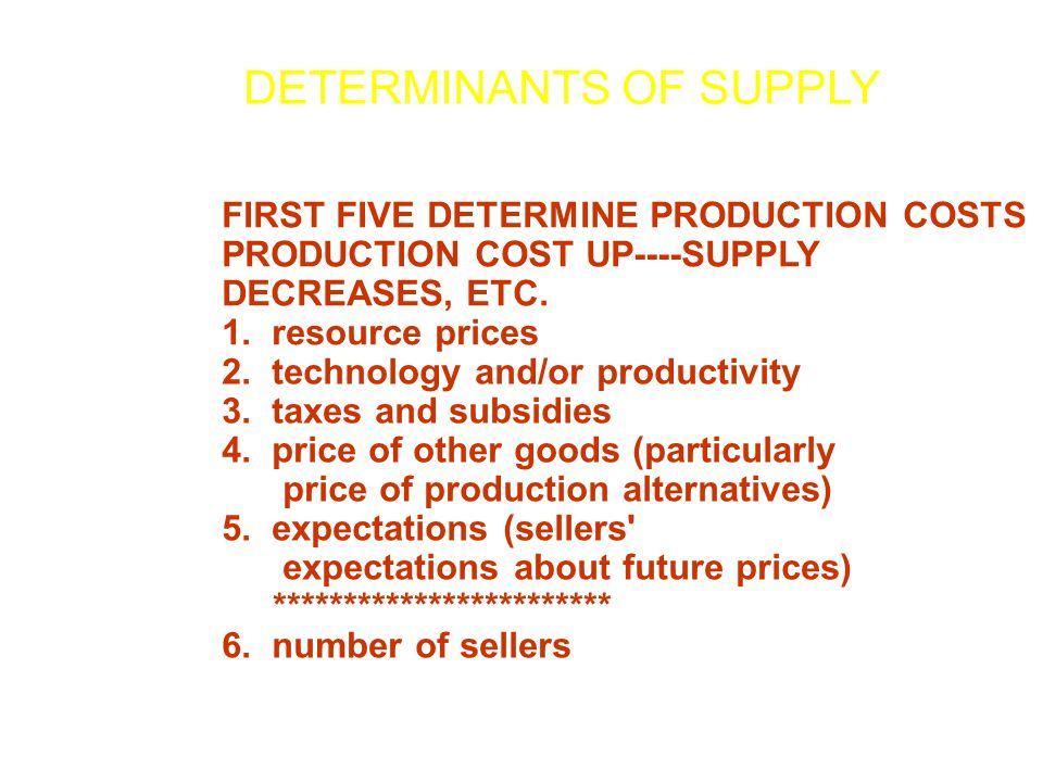 FIRST FIVE DETERMINE PRODUCTION COSTS PRODUCTION COST UP----SUPPLY DECREASES, ETC. 1. resource prices 2. technology and/or productivity 3. taxes and s