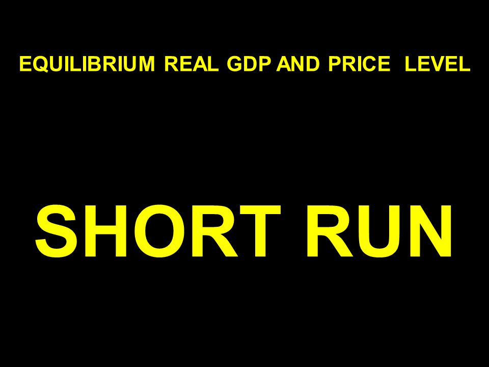 EQUILIBRIUM REAL GDP AND PRICE LEVEL SHORT RUN