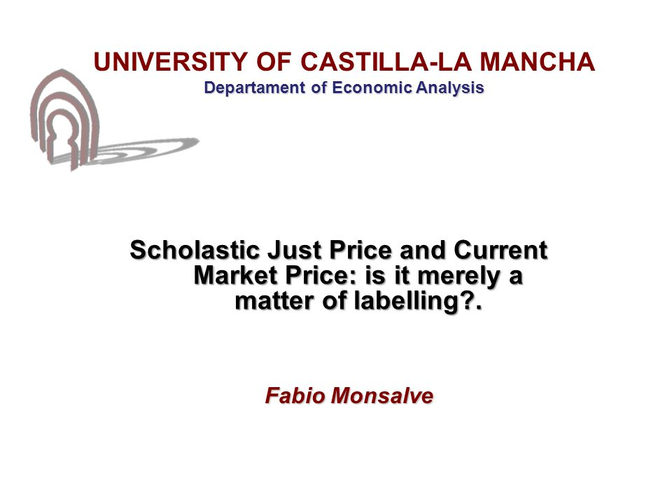 IV.The role of the market: just and market price controversy III.