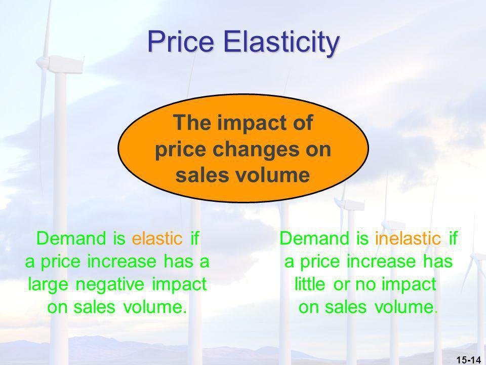 15-14 Price Elasticity The impact of price changes on sales volume Demand is elastic if a price increase has a large negative impact on sales volume.