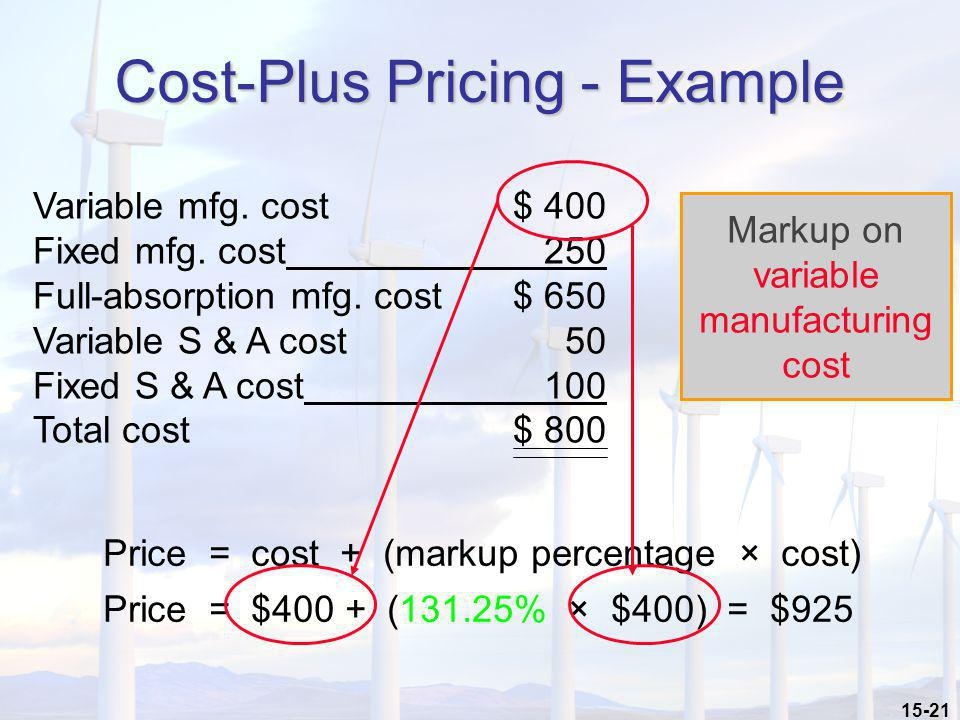 15-21 Cost-Plus Pricing - Example Variable mfg. cost$ 400 Fixed mfg. cost 250 Full-absorption mfg. cost$ 650 Variable S & A cost 50 Fixed S & A cost 1
