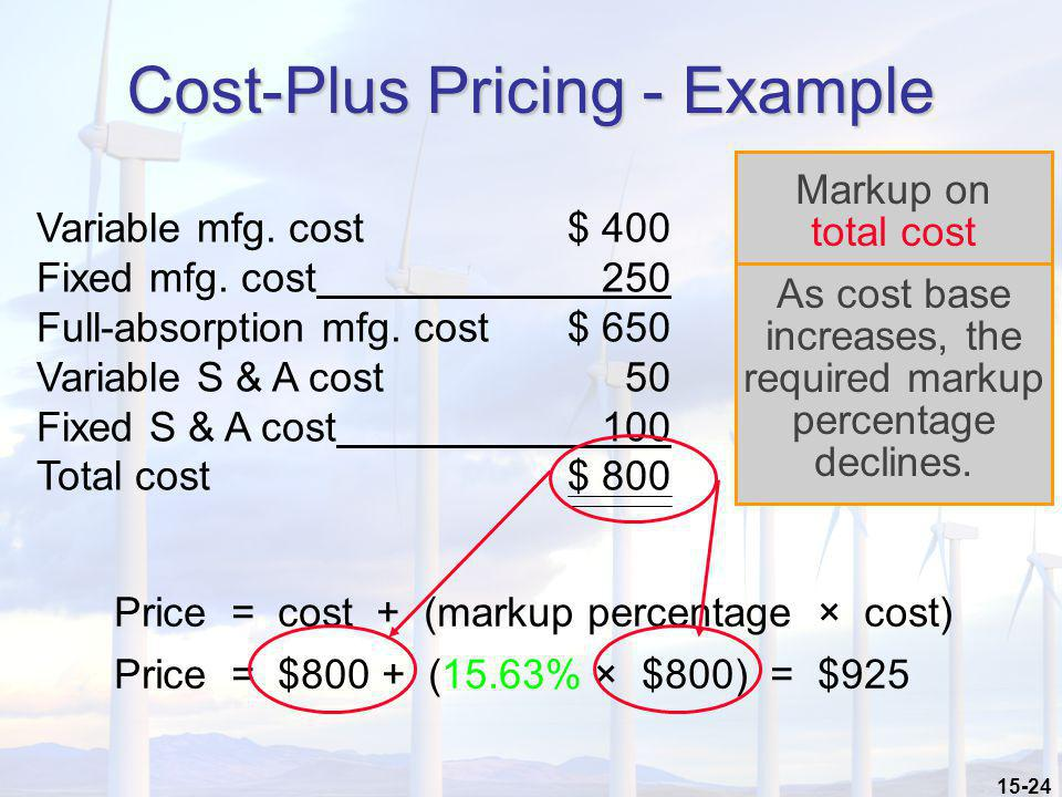 15-24 Cost-Plus Pricing - Example Variable mfg. cost$ 400 Fixed mfg. cost 250 Full-absorption mfg. cost$ 650 Variable S & A cost 50 Fixed S & A cost 1
