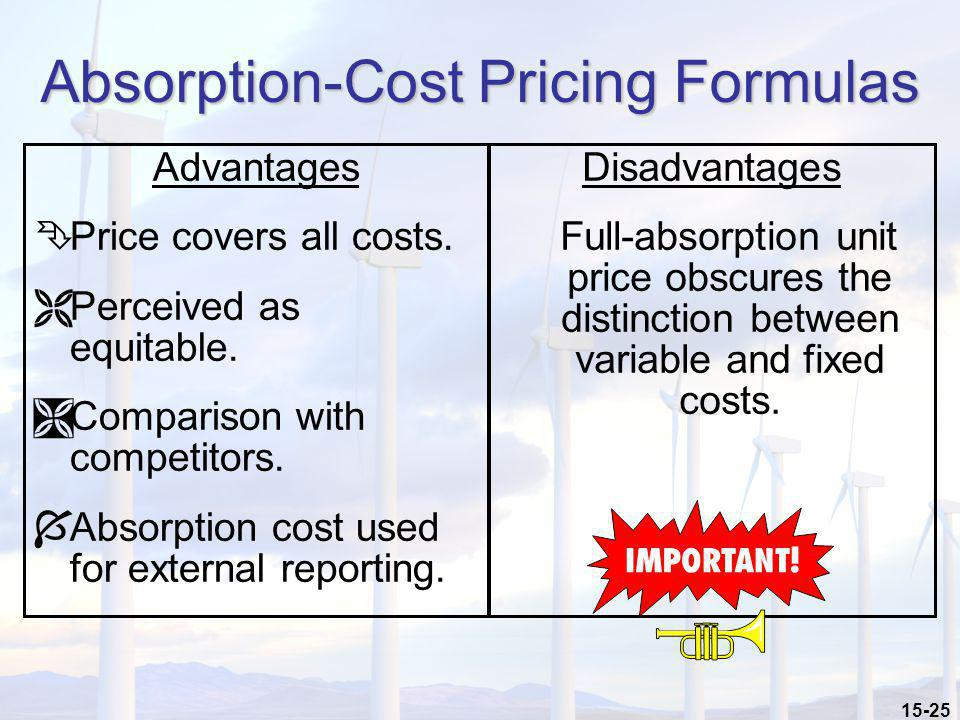 15-25 Absorption-Cost Pricing Formulas Advantages ÊPrice covers all costs. ËPerceived as equitable. ÌComparison with competitors. ÍAbsorption cost use